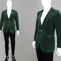 Vintage 60s 70s Green Velvet Blazer Swinging London Boutique Pinstripe Jacket Striped Mens Velvet Blazer Dinner Jacket Dandy Sport Coat
