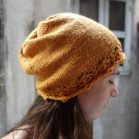 Slouchy Knit Hat with Lace Brim - tangerine pumpkin orange - women's or teen - fashion feminine slouch beanie fall
