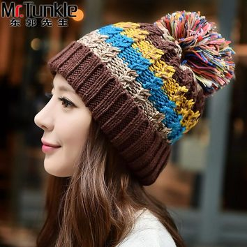 FREE SHIPPING Winter Colourful Hat Women  Fashion Snapback Caps Hairball Hats Warm Ear Protection  Hat Swag Cap Beanie Skullies