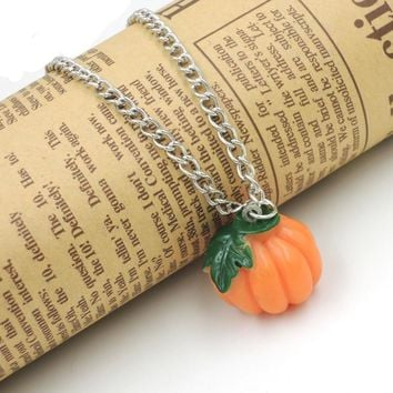 Imitation Fruit necklace food jewelry pumpkin necklace halloween fun odd cute school gift NW1622