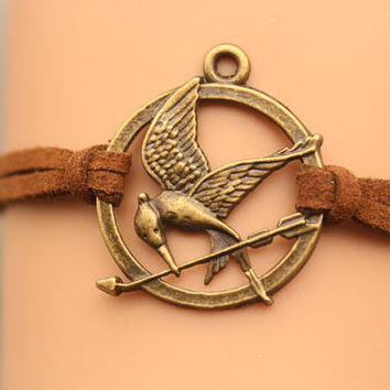 Hunger Games Bracelet, Mocking Jay Pendant,friend gift,Christmas gift,antique brozne pendant,brown rope(AB033)