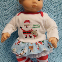 "American girl Bitty baby clothes Bitty twins clothes ""Santa's Favorite"" (15 inch)  Christmas outfit dress leggings socks hair clip headband"