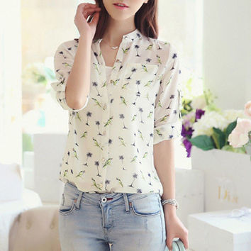 Hot Korean Fashion Women Dandelion Chiffon Tops Long Sleeve Shirt Button Blouse