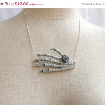 On Sale Skeleton Hand Necklace with Grey Rose-Pin Up Rockabilly Psychobilly Pastel Goth Jewelry and Accessories