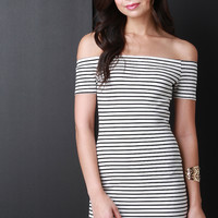 Horizontal Stripe Off The Shoulder Bodycon Dress