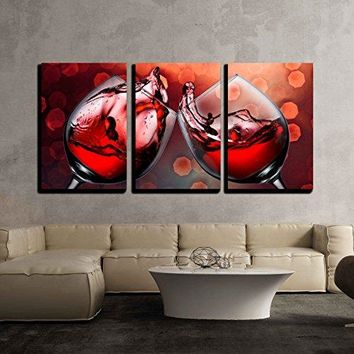"wall26 - 3 Piece Canvas Wall Art - Red Wine Glass Cheers with Wine Splash - Modern Home Decor Stretched and Framed Ready to Hang - 16""x24""x3 Panels"