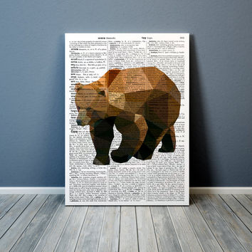 Grizzly bear print Modern art Animal poster Colorful decor TO302