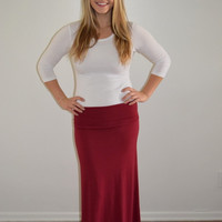 Burgundy Fold Over Maxi Skirt