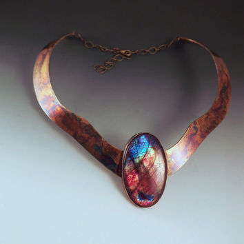 Rainbow Labradorite Necklace- Stunning Color- Egyptian Queen- Colorful Swirl Patina- Metal Art- One of a Kind Collar Necklace