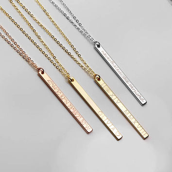 Inspirational Necklace Vertical Bar Necklace Personalized Necklace Coordinate Necklace Bridesmaid Gift Gold Necklace - 13N