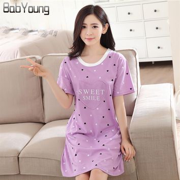 BabYoung  Summer Women Nightgowns Cotton Nightwear O-neck Short Sleeve Cartoon Printing Lingerie Sleeping Dress For Female