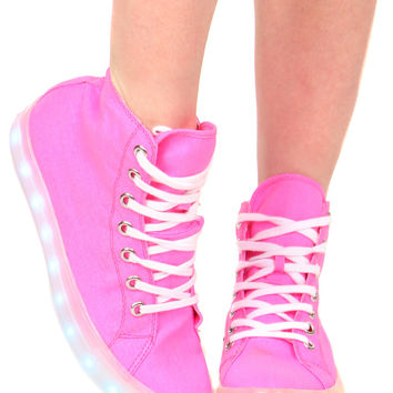 NEON PINK ILLUMINATE HIGH TOP SNEAKER