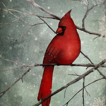 "The Cardinal - Illustration print (size 7"" x 5"")"