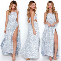 Casual Sleeveless Flower Printed Solid Color Long Dress NEW Women Summer Clothing Boho Long Floral Dresses