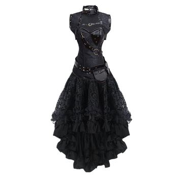 Women's Sexy Gothic Victorian Steampunk Corset Dress Leather Overbust Corsets and Bustiers Skirt Party Waist Trainer Plus Size S