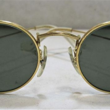 VINTAGE B&L RAY BAN GOLD PLATED WIRE OVAL AVIATOR SUNGLASSES