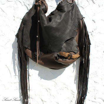 Large tribal leather raw edges brown distressed hobo gypsy larp elvish bag bohemian fringed bag fringe tote large brown rusted hobo tribal