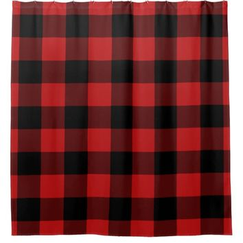 Red Buffalo Plaid Home Decor Shower Curtain
