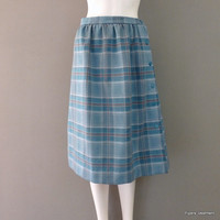 Blue Plaid Skirt 1980s Side Button Skirt Office Wear Professional Work Skirt