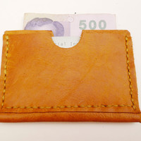 Tan leather coin card wallet minimalist