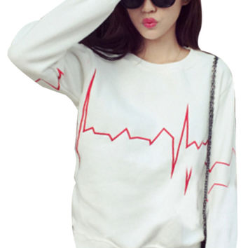 Heartbeat Frequency Printed Long Sleeve Sweatshirt