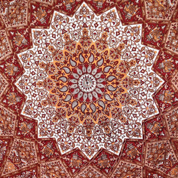 Red Yellow Elephant star mandala tapestry bedspread wall hanging