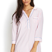 FOREVER 21 Striped Boyfriend Sleep Shirt Pink/White Large