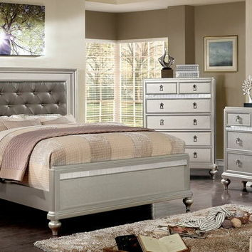 5 pc Avior collection silver finish wood padded and tufted headboard queen bedroom set