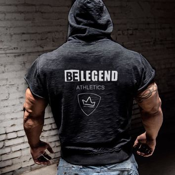 Mens  sleeveless Hoodies Fashion pullover leisure coat gyms Fitness bodybuilding sleeveless Sweatshirt male sportswear clothing