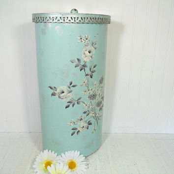Shabby Chic Blue Turquoise & Silver Enamel Oval Metal Lingerie Hamper - Vintage Hand Painted Floral ToleWare Bin with Pierced Metal Lace Lid