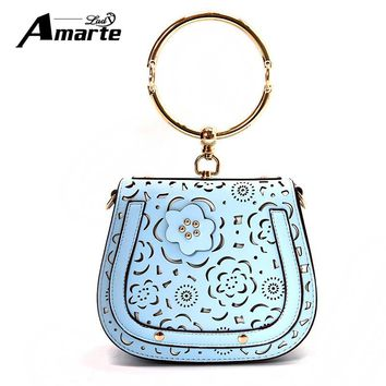 Amarte Women Handbags Luxury Brand Hollow Out Design Women Shoulder Bags Small Crossbody Bags for Girls