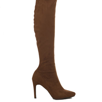 Pointy Toe Knee High Suede Boots - Tan