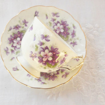 Vintage Aynsley Violette Ornate Tea Cup and Saucer, Cottage Style, Wedding, English Bone China