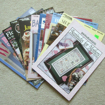 11 Craft Pattern Booklets Lot for Crochet, Cross Stitch, Stenciling, Wreaths, Beadwork, Craft Projects