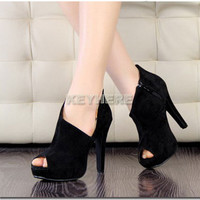Fashion Sexy Fish Mouth Women's Super-High Heel Platform Velvet Shoes Pump 2012