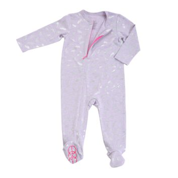 Metallic Feather Baby Zipper Footie