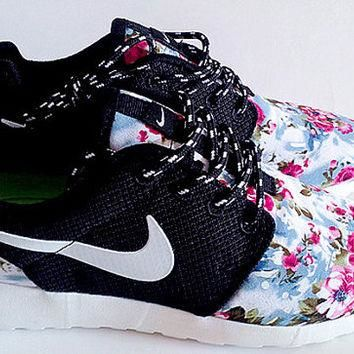 custom nike free roshe black run athletic women shoes with fabric flowers,crystal swar