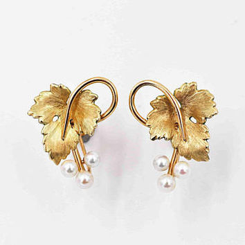 Vintage Krementz Grape Leaf Screw Back Earrings, 14K Rolled Yellow Gold, White Pearl, Grape Leaves, Grapes, Vineyard Delights! #c326