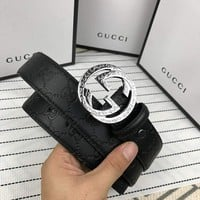 GUCCI Newest Fashionable Double G Letter Smooth Buckle Belt Leather Belt