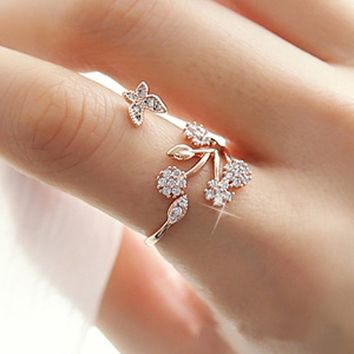 925 Sterling Silver  Adjustable Size Butterfly Trees  Engagement  Ring for Color: Silver, Rose Gold