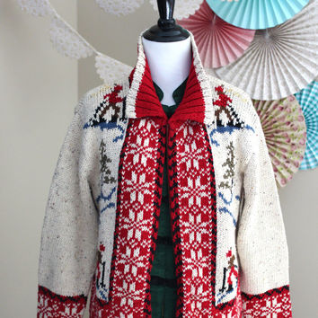 Vintage 1990's Hand-Knit Ski Sweater Fair Isle Insartia Over-Sized Cardigan by Liz Claiborne + MEDIUM / LARGE