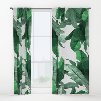 Tropical Palm Print Window Curtains by Tamsin Lucie
