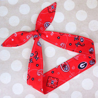 Game Day - GEORGIA BULLDOGS RED -  Adult Dolly Bow Tie Up Headscarf Headband Bandana Hair Accessory Boho Preppy - University of Georgia