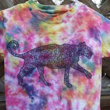 Jaguar Shirt, Custom Tie Dye Shirt w Black Jaguar, Jaguar T-shirt, Cat Lover, Wildcat, Cat Birthday, Jungle Cat, Wild Cat, Cat gift, big cat