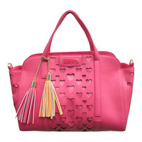 Betsey Johnson Fuchsia Large Open Your Heart Satchel | zulily