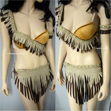 Pocahontas Native indian Fringe Bra Cosplay Costume Rave Halloween
