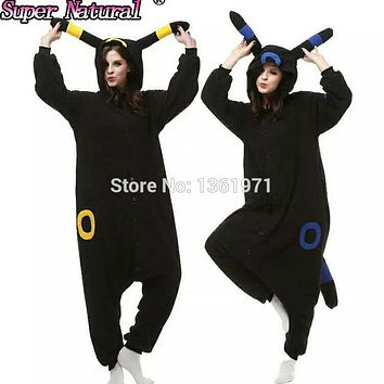 HKSNG Kigurumi Fleece  Black Blue Umbreon Espeon Cartoon Footed Onesuits Animal Pajamas Cosplay Costumes On SaleKawaii Pokemon go  AT_89_9