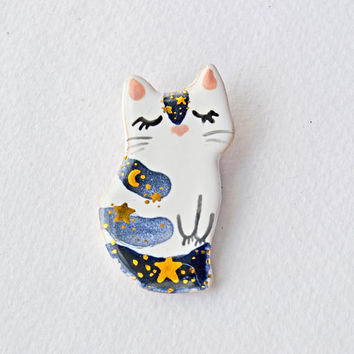 Cat Pin, Cat Brooch, Cat Lover Gift, Celestial Cat Jewelry, Moon Phases Ceramic Cat, Handmade Pins, Crescent Moon , Mothers Day Gift
