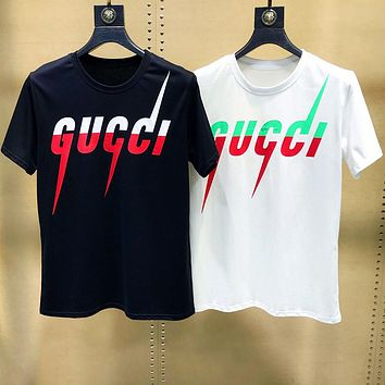 GUCCI Newest Hot Sale Women Men Casual Print T-Shirt Top Blouse