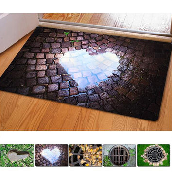 40*60cm Entrance Doormats Funny Rubber Door Mat Fashion 3D Trap Printed Carpet For Living Room Bedroom Floor Mats Kitchen Rugs